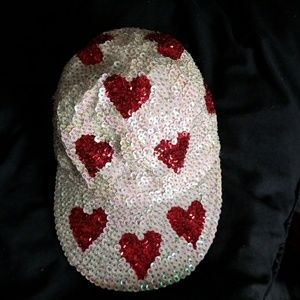 White and red sequin hat